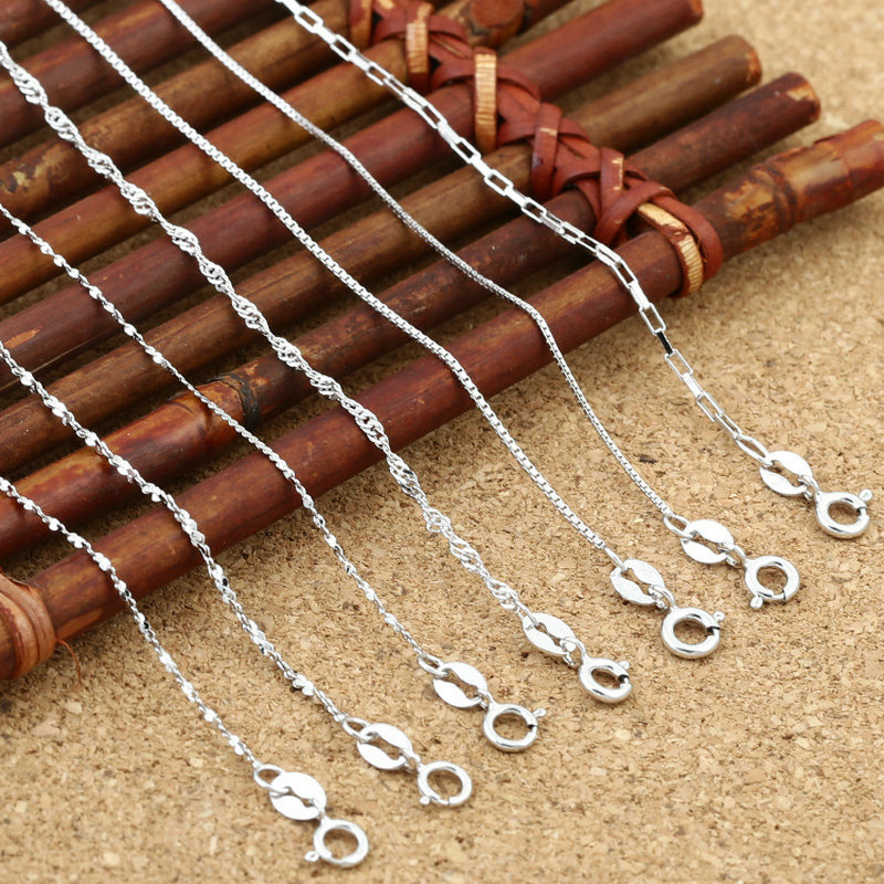 40/45MM 100% Real 925 Sterling Silver Choker Chain Necklace for Women Fine Jewelry