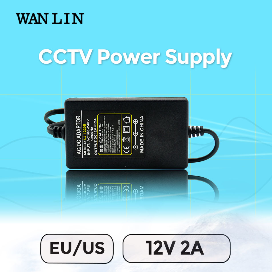 WAN LIN US EU Plug Power Supply DC 12V 2A CCTV System Power Adapter for AHD
