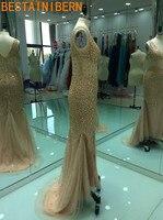 Real Photos Elegant Long Tulle Mermaid Evening Dress 2017 New Crystal Beads Prom Dress Robe De