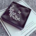Luxo 925 Sterling Silver CZ Cristal Assimétrico Flor Folhas Brincos Para As Mulheres Da Moda Esterlina-prata-jóias