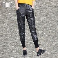 Новые весенние полосатые черно белой печати Натуральная кожа Штаны овчины штаны шаровары брюки Pantalon Femme Mujer lt1251