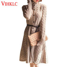 6b1d920d909 Long Sweater Dress 2017 Fall Winter Fashion Plus Size Cable Vintage  Single-breasted Knee-length Belt Knitted Maxi Dress D347