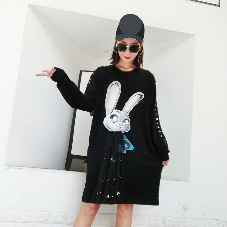 OLOEY 2018 Autumn Spring New Korea Lovely Rivet Patchwork Mesh Rabbit Print  Hole Women s Dress Ruffles T Shirt Dresses A644-in Dresses from Women s  Clothing ... 9aab661ad866