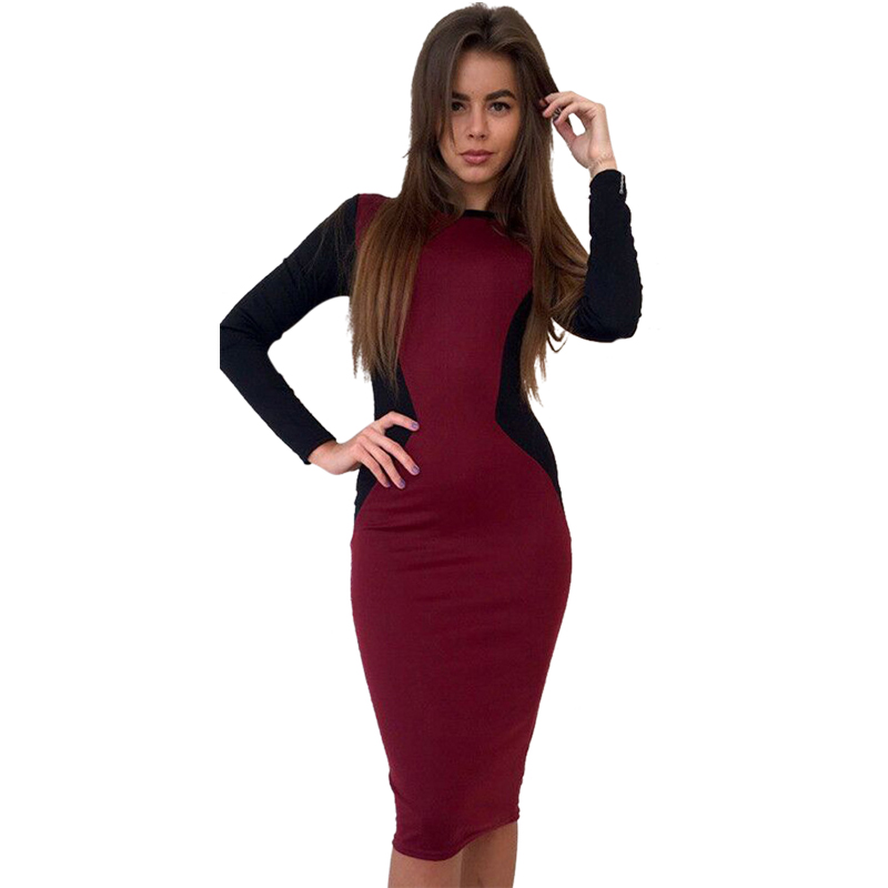 BONJEAN Sexy Vintage Skinny Women Bandage Dress 2017 Spring Autumn Long Sleeve Patchwork Plus Size Work