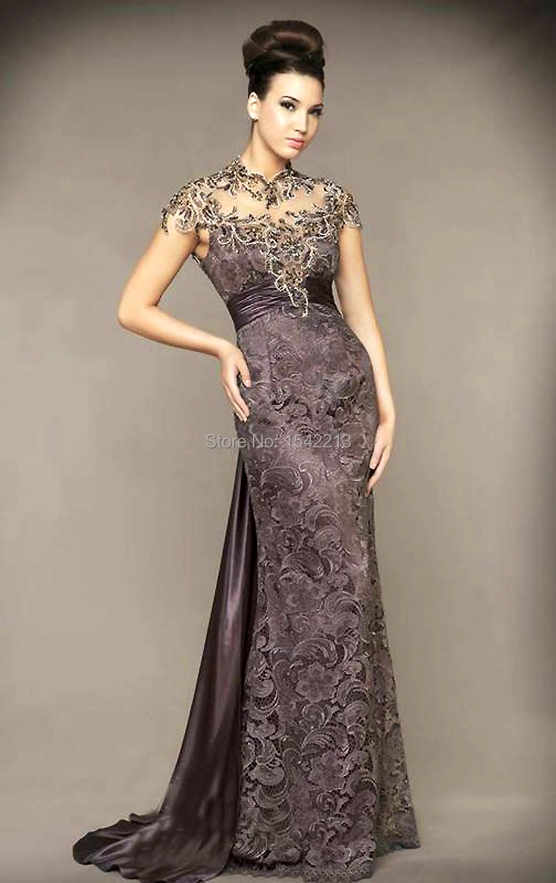 Modest High Neck Beaded Long Train Brown Formal Lace Evening Dress Short Sleeve Prom Gown Special Occasion  In Evening Dresses From Weddings Events On