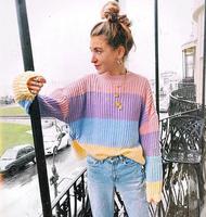 e88566196 Cute Oversized Sweater Women Knitted Clothes Macaron Colors Pullover Female  Jumper Patchwork 2018 Winter Pull Sweaters