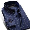 2016 Button-Down Collar Longo Praça Da Luva dos homens Slim Fit 100% Algodão Listrado Camisas De Vestido Dos Homens Clássico Oxford Camisa Button-Down