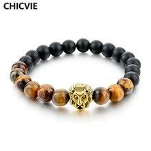 Chicvie матовый оникс и тигровый глаз каменные браслеты золотая