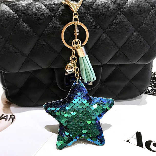 Cute Keychain Star Glitter Sequins Key Chain Gifts for Women Llaveros Mujer Car Bag Accessories Key Ring sleutelhanger
