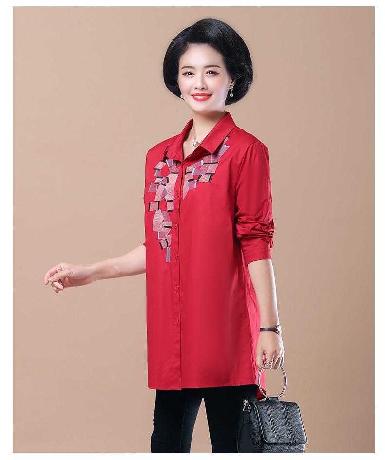 WAEOLSA Woman Casual Loose Shirt Blue Red Cotton Top Women Print Oversized Blouses Plus Size Top Lady Leisure Shirt Spring Autumn (8)