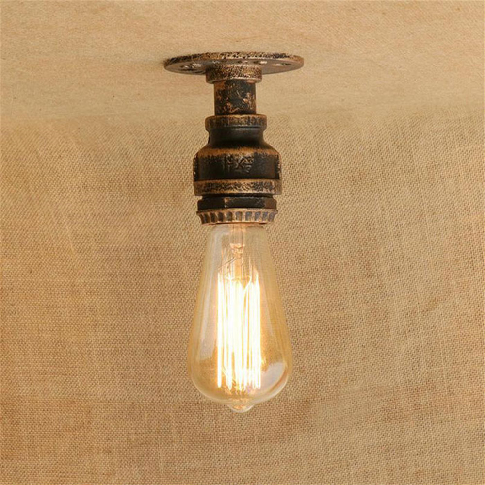 2017 new mini pipe ceiling lights vintage e27 loft surface for Iron pipe ceiling light