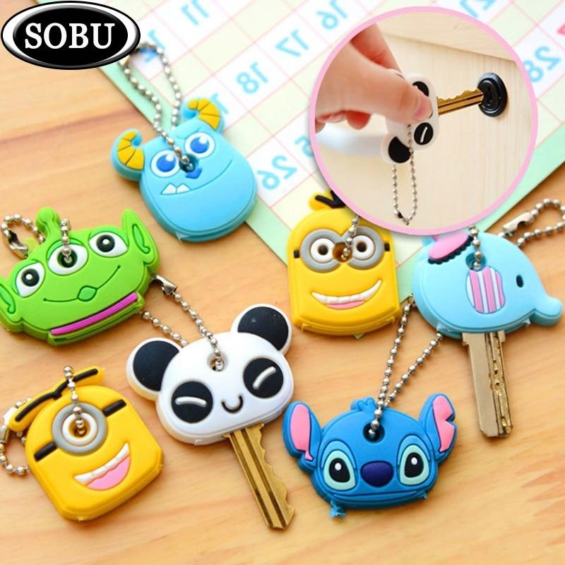 Key-Cover Keychain Minion Anime Silicone Cartoon Cute with 8pcs/Lot Stitch P012b