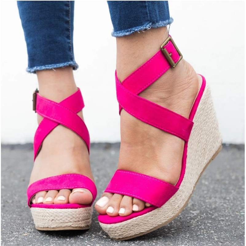 HEFLASHOR Ladies Shoes Pumps Platform Cross-Tied Summer Sandals High-Heels Zapatos-De-Mujer