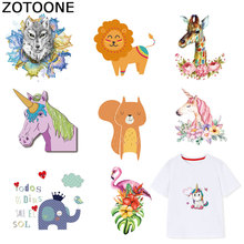 ZOTOONE Unicorn Flamingo Patches Transfers for Clothes Iron on Patch Heat Transfer Animal Sticker DIY Accessory Appliques F1