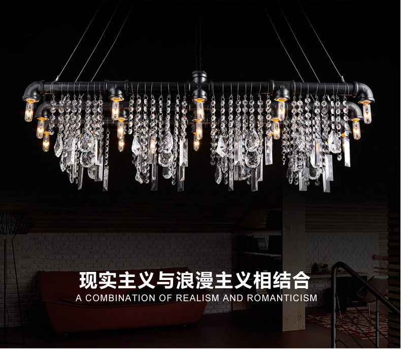Loft American Rural Industrial Style Pendant Lighting Luxury Crystal Water Pipe Art Deco Lighting Bar Restaurant Pendant Lamp