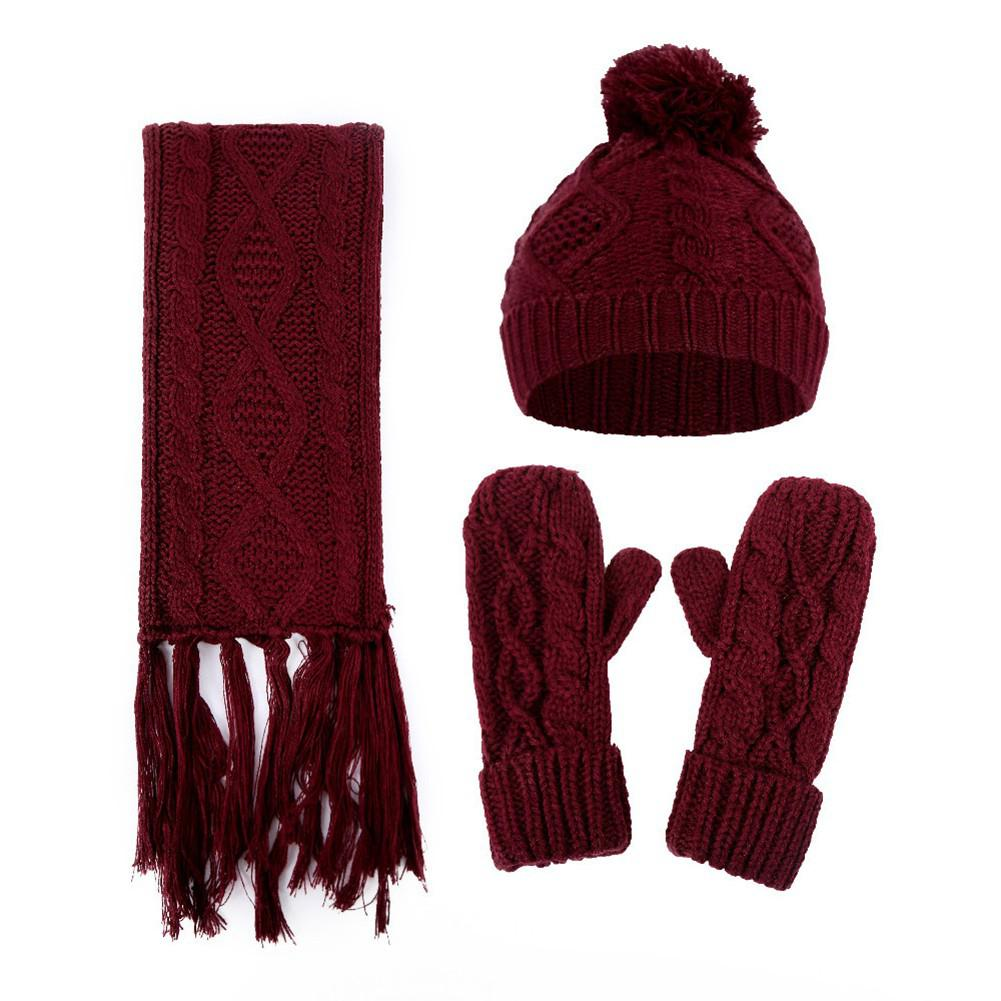 MISSKY 3PCS/Set Solid Color Women Twist Knitted Woolen Cap + Scarf + Gloves Knitted Hat Muffler Gloves Suit
