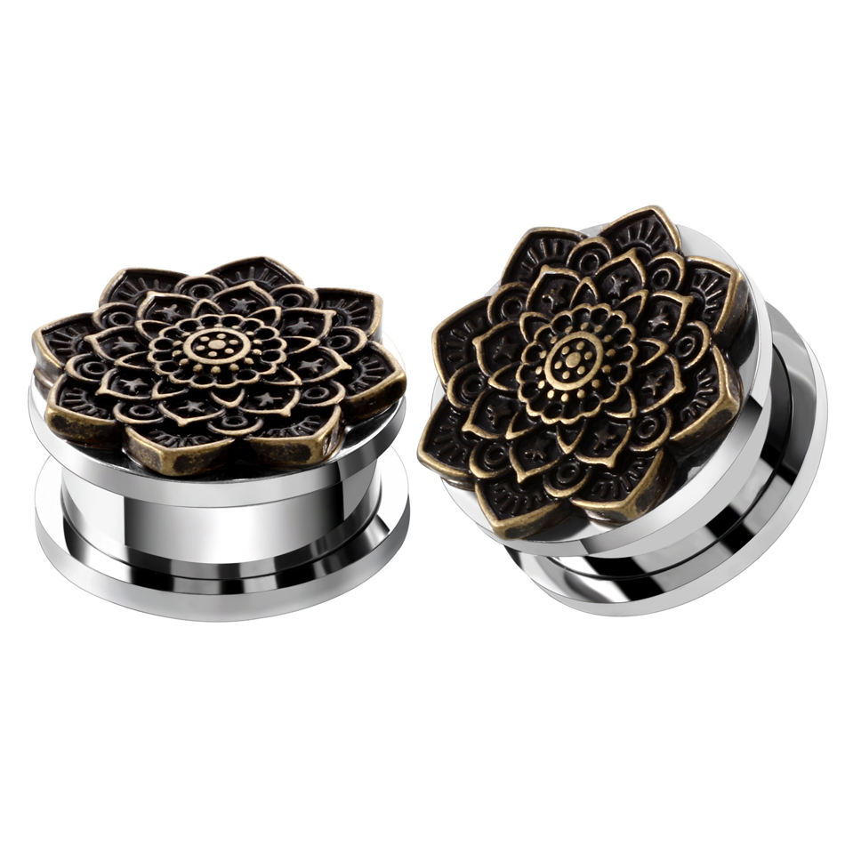 2Pcs Ear Plugs Tunnel Stainless Steel Piercing Lotus Antique Bronze Flower Ear Expander Stretcher Flesh Tunnel