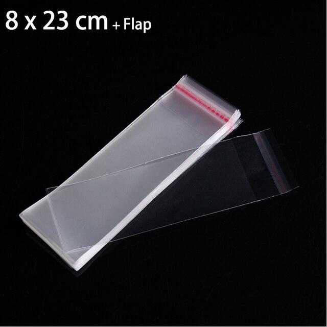100 pcs 8x23 cm Saco Plástico OPP Claro Para O Pacote de Jóias de Presente Embalagem Sacos Autoadesivo Seal Celofane saco