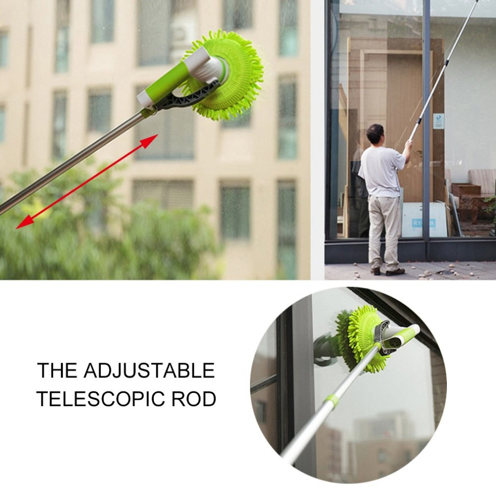Household Use Electric Charging Cleaning Brush Adjustable 360 Rotating Automatic Cleaning Window Floor Mop Green cupcake baking injector cleaning brush light green white