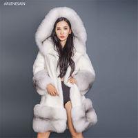 Arlenesain custom 90cm Long Russian Cross Fox Fur Hoodies Full Length Mink Coat Real Fur Parka Sliver Fox fur women coat