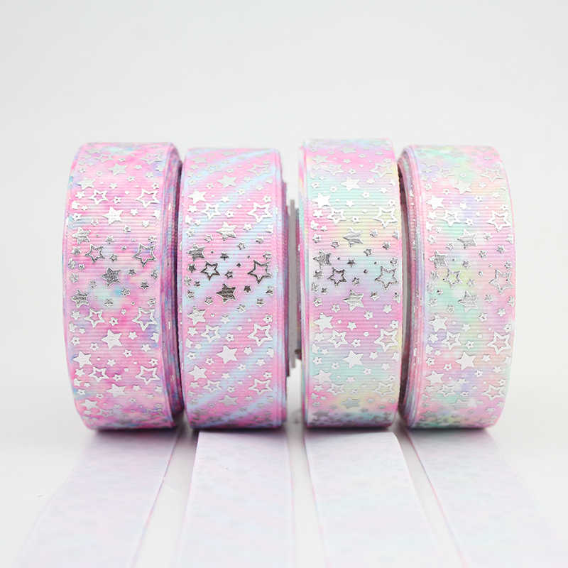 "7/8"" 22mm silver foil printed glowing star ribbon Accessory hairbow headwear DIY handmade hair bows accessories 25 yards"