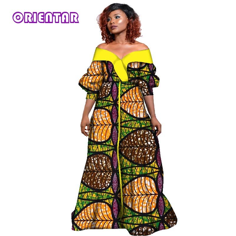 be270e6e196ee 2019 African Wax Print Long Dresses Party Vestidos Bazin Riche Dresses  Traditional African Dresses for Women