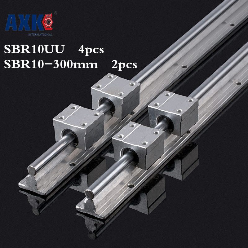 Axk 2pcs Sbr10 L 300mm Linear Rail Support With 4pcs Sbr10uu Linear Guide Auminum Bearing Sliding Block Cnc Parts axk mr12 miniature linear guide mgn12 long 400mm with a mgn12h length block for cnc parts free shipping