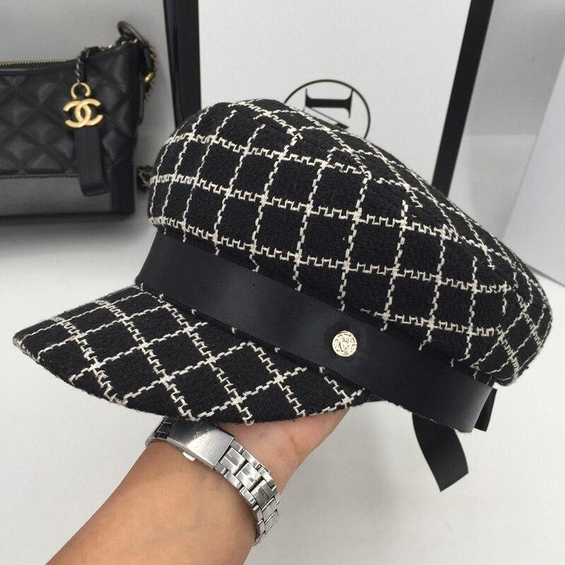 Der Alte Weisen Mode Hut FüR Schnellen Versand Herbst Winter Baskenmütze Stricken Weibliche Grid Kappe Achteckige Kappe Kleine Süße Wind