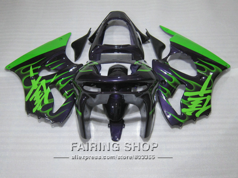 Green flames Fairing kit For Kawasaki ZX6R 1998 1999 / 98 99 zx-6r Customize High quality decal for Fairings S25