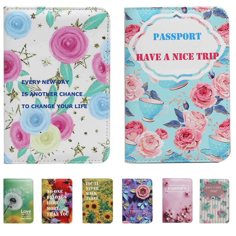 Straightforward 14 Styles Spring Flowers New Passport Cover Holder Bags Fashion Lady Women Card & Id Holders Bag Lady Girl Children Gifts Pleasant In After-Taste Card & Id Holders