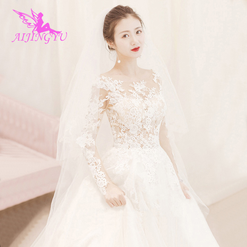 AIJINGYU 2018 elegant free shipping new hot selling cheap ball gown lace up back formal bride dresses wedding dress WK379-in Wedding Dresses from Weddings & Events    1