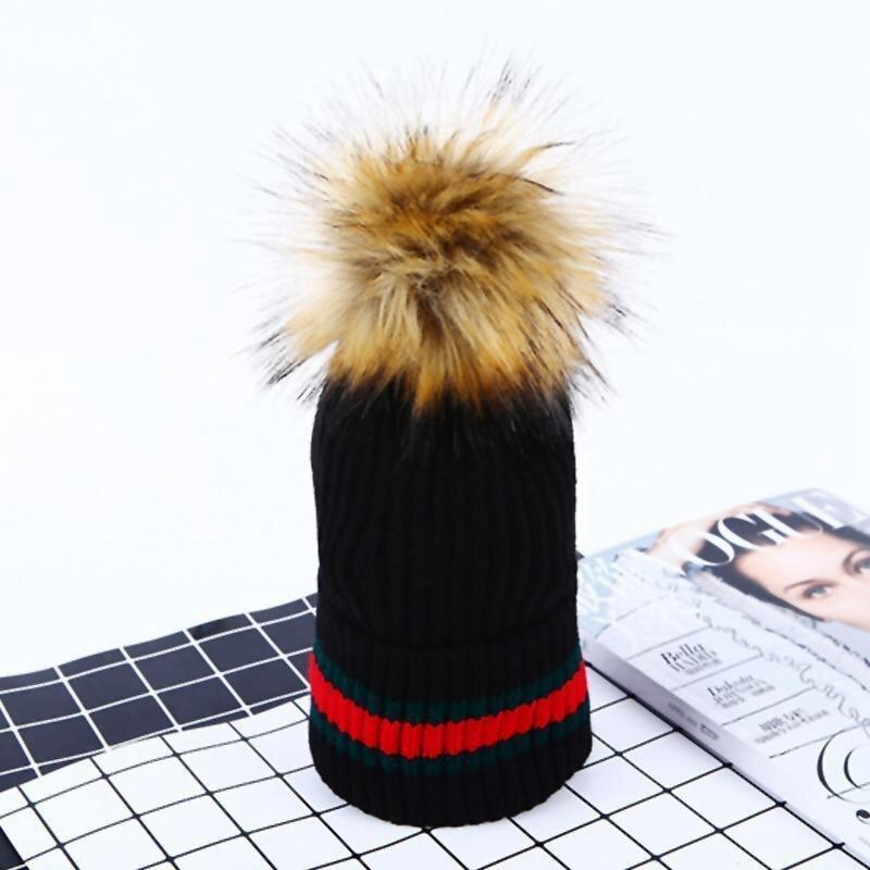 New Women Ladies Winter Warm Chunky Knit Cap With Double Fur Pom Pom Beanie Hat