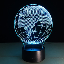 Acrylic Small Night Light Africa Map LED 3D Lamp 7 Color Change USB Remote Touch Switch Indoor Atmosphere Lamp Bedside Lamp