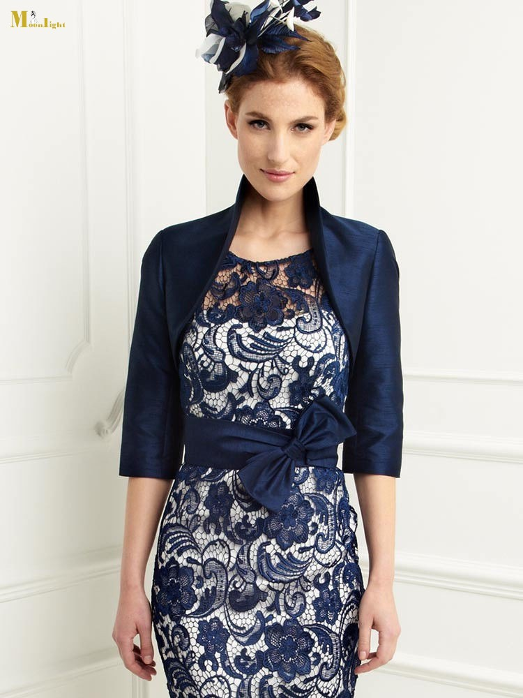 2016 New R 052 Mother Of The Bride Dress Tea Length John Charles Sheath Scoop Navy Blue Lace Vestido De Madrinha With Jacket In Dresses