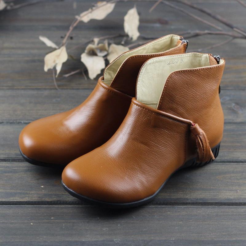 Ayakk.'ten Ayak Bileği Çizmeler'de Ayakkabı kadın hakiki deri çizmeler yuvarlak ayak kayma saçak chelsea çizmeler İlkbahar sonbahar bayanlar yarım çizmeler (5815 2)'da  Grup 1