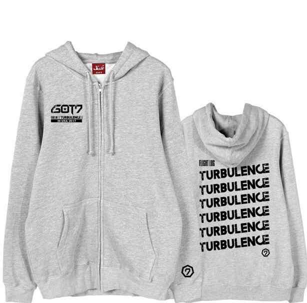 GOT7 альбом бортовой журнал турбулентности печати молнии Куртки для я GOT7 KPOP поддерживающая флисовая куртка с капюшоном