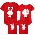 2017 Juego Trajes de Algodón de Verano de la Familia T-Shirt De La Familia Conejo Carácter Impreso Camiseta Para Bebé Corto de La Camiseta Para Las Señoras
