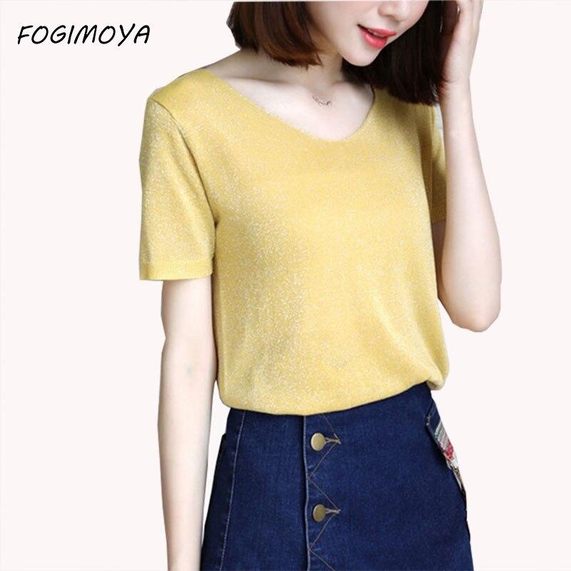 FOGIMOYA T shirt Women Short Sleeve Top Knitted shirts Ice Silk Shiny Basic Sweater Tops Pullover Summer Autumn Crochet Top 2017