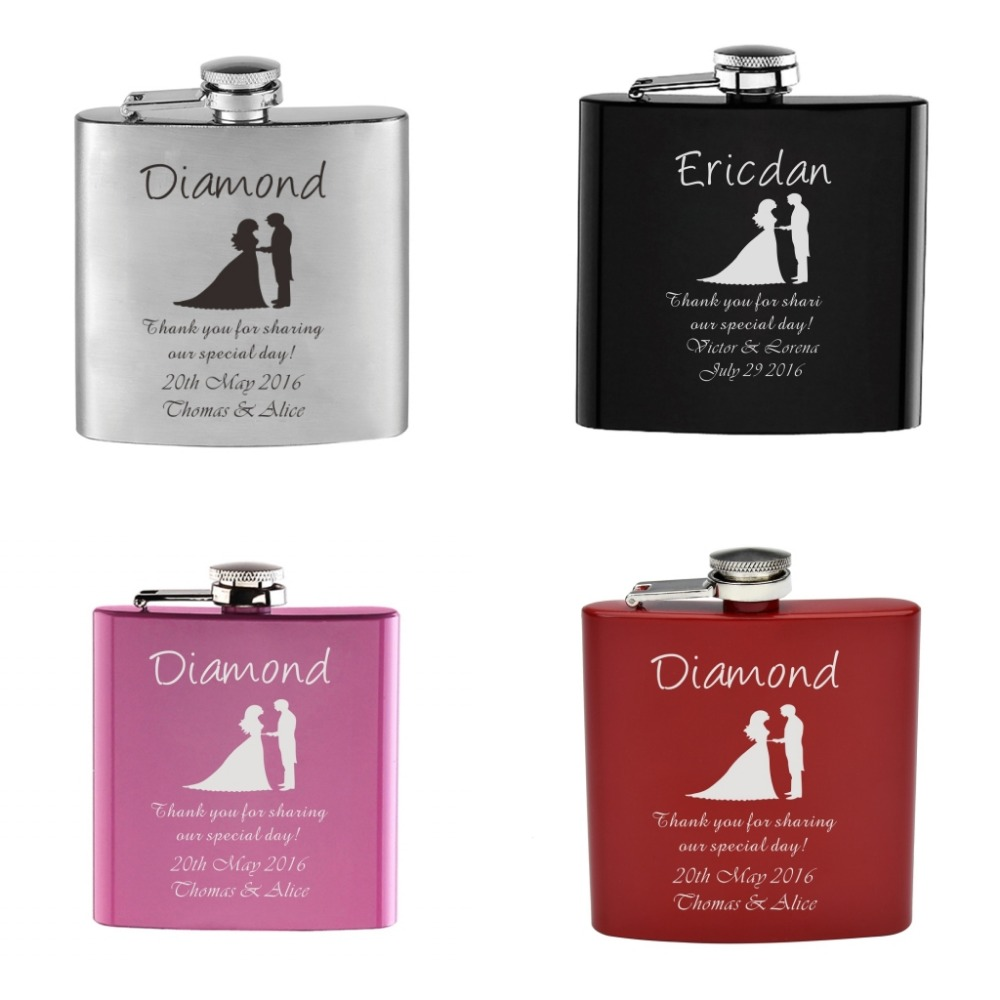 1 Set Personalized Engraved 6 Oz Black Hip Flask Stainless Steel