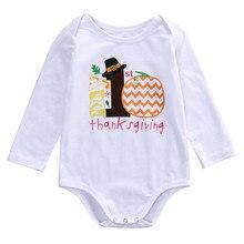 Baby Children Bodysuit Christmas Clothing Newborn Clothing Infant Baby Boy Girl Cotton Thanksgiving Pumpkin Bodysuit Baby Outfit