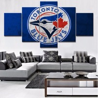 5 Piece HD Print Toronto Blue Jays Baseball Sport Modern Paintings On Canvas Wall Art For