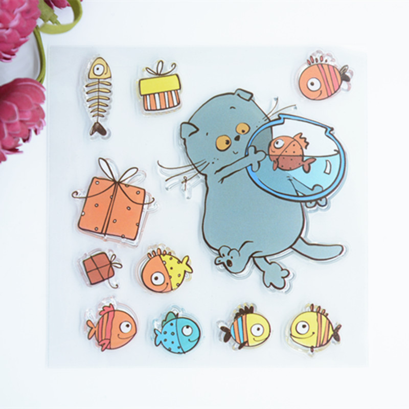 CS605 New Scrapbook DIY Photo Album Cards Transparent Acrylic Silicone Rubber Clear Stamps Sheet Cute Cat Fish 10.5x10.5cm jwhcj vintage cat date wood roller stamps for children diy handmade scrapbook photo album diary book decoration students stamps