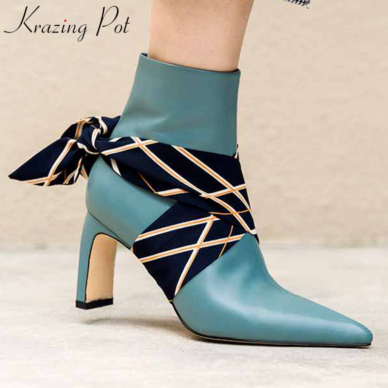 krazing pot new Winter genuine leather pointed toe high heels party boots European silk riband dating
