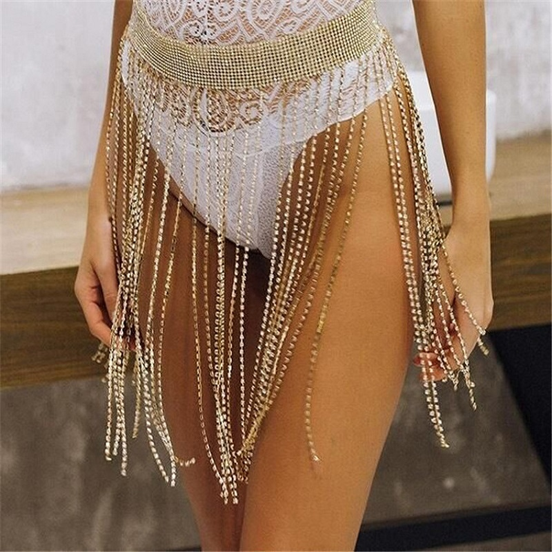 Fashion Crystal Body Chains Belly Hip Skirts Tassel Waist Chains Summer Beach Scarf Party Belts Body Accessories Jewelry