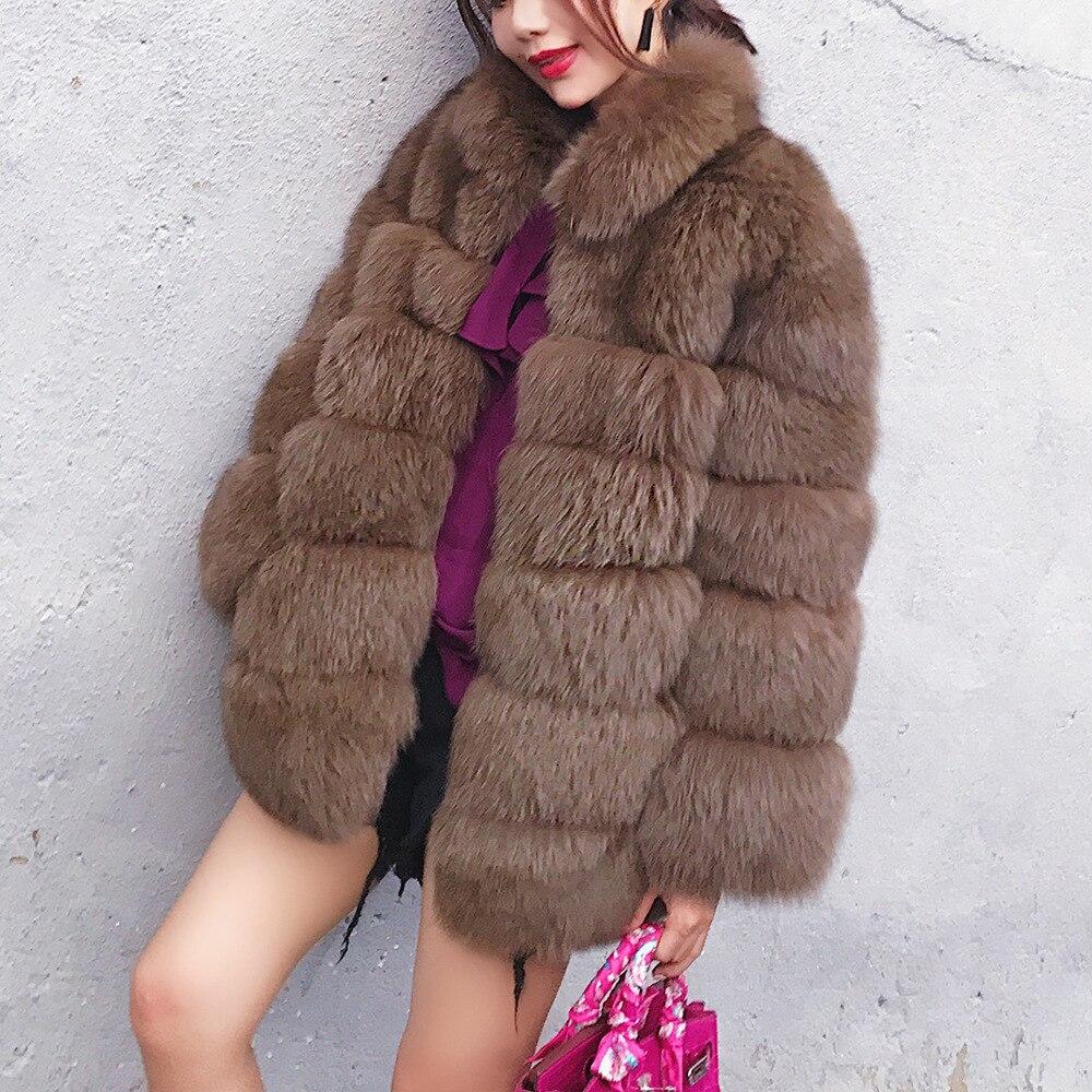 2018 fourrure de mode renard fausse fourrure de vison à manches longues hiver femmes manteaux manteau femmes Parka fourrure pardessus Teddy tunique lapin rose