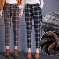 Women's plaid Woolen harem pants casual trousers 2018 new autumn and winter high waist loose feet pants plaid trousers