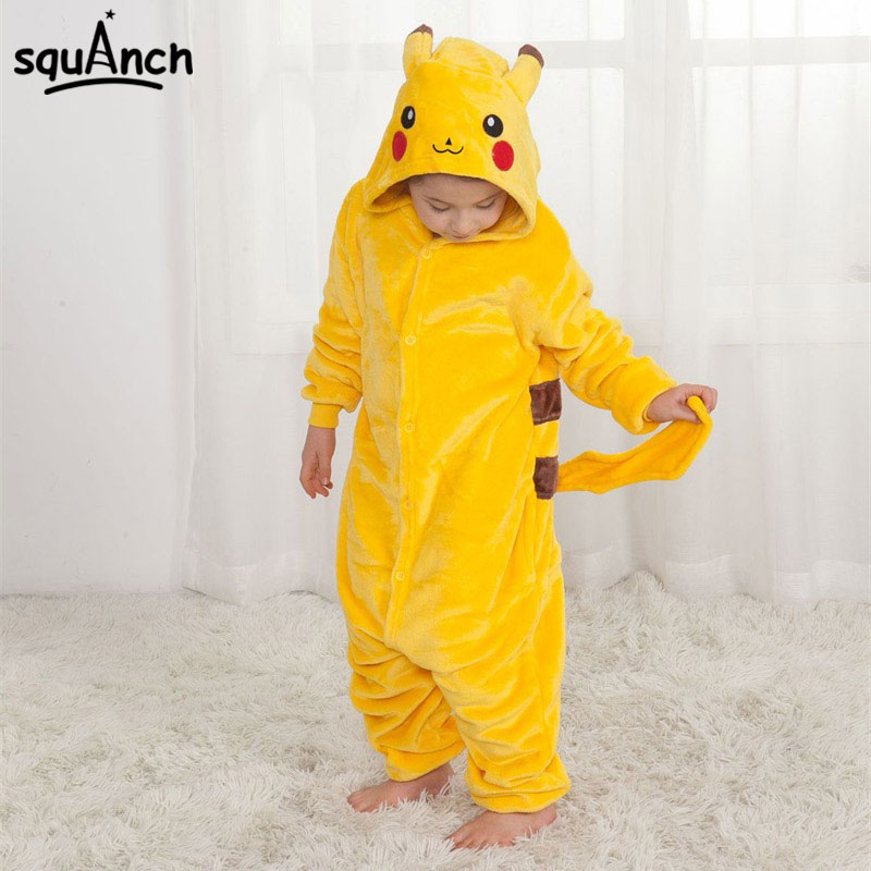 Kawaii Kigurumi Animal Onesies Kid Boy Girl Funny Flannel Pajama Carnival Party Home Warm Children Overalls Suit
