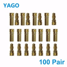 100 Pairs 3 5mm Banana Plug With Heat Shrink Tubing High Quality Gold Bullet Connector Plug