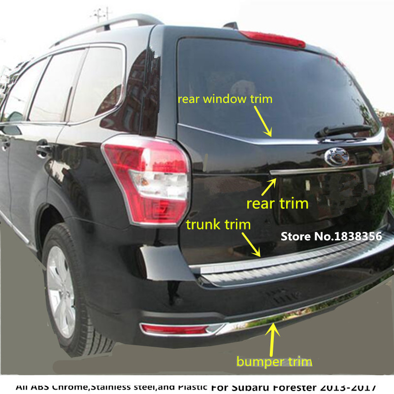 For subaru Forester 2013 2014 2015 2016 2017 stainless steel Car rear window pillar trunk bumper License plate strip trim frame hot sell windows dedicated car modification for excelle gt 2015 2016 bright silver stainless steel window trim strip