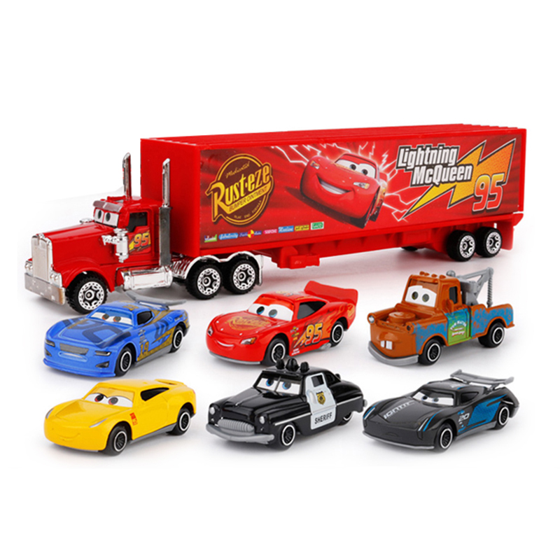 7Pcs/set Disney Pixar Cars 3 Lightning McQueen Jackson Storm Cruz Mater Mack Uncle Truck 1:55 Diecast Metal Car Model Boy Toy